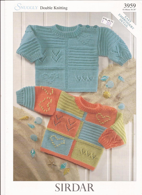Sirdar Snuggly DK Knitting Pattern 3959 Sweaters w/ Easy