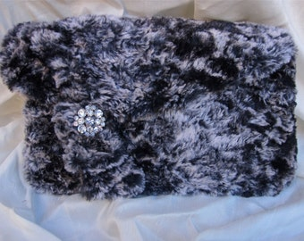 Faux  Fur Clutch with Vintage Barkcloth and Satin