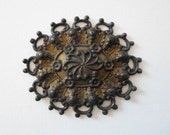 Unusual Vintage Oxidized Brass Floral Filigree Finding