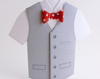 Happy Father's Day Card - 3D Bow & Vest in PDF Pattern
