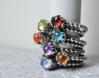 Custom gemstone ring, made to order ring, gemstone of choice: rainbow moonstone, garnet, peridot, topaz, sunstone, amethyst, and citrine.