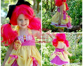 Crumbs Lalaloopsy Cookie Doll Costume Halter Lace Dress Super Twirly Dress-up Custom Sizes