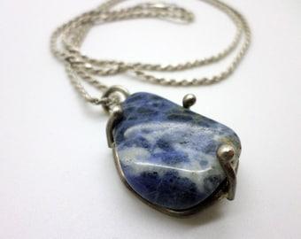 SALE Vintage Mondernist Stone Pendant Sterling Silver Chain Necklace Perhaps Sodalite