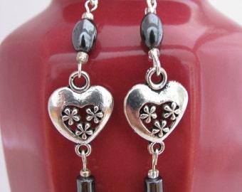Flowered Heart Earrings with hetatite and heart charm