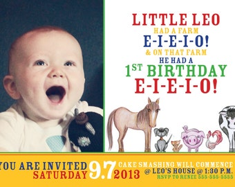 EIEIO Farm children's birthday party invitation (photo)