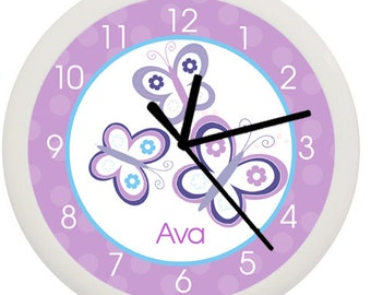 Purple Butterfly Girls Nursery Room 10 Inch Wall Clock