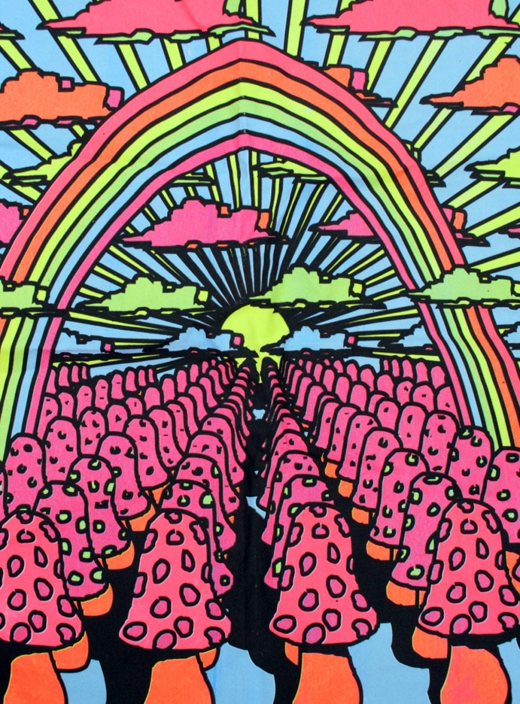 Vintage Neon Mushroom Psychedelic Trippy Black Light Hippie