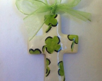 St. Patrick's Day Clover Cross Hand-painted