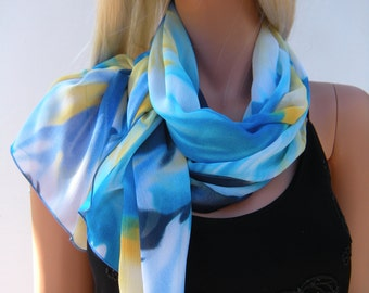 Painted Sky Shades of Blue and Yellow  extra wide and Long Chiffon scarf- chiffon shawl/pareo