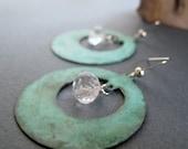 Verdigris Hoop Earrings, Vintage Inspired Earrings, Rustic Jewelry, Quartz Crystal Dangle Earrings - GYPSY
