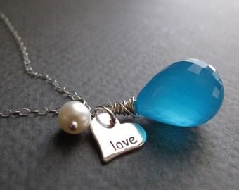 Love Pendant Heart Necklace, Turquoise Teardrop Pendant, Stamped Love Charm Necklace - SO IN LOVE