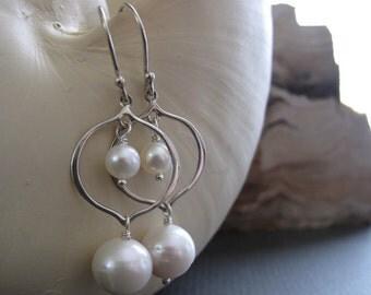 Sterling Silver Earrings, Pearl Earrings, Wedding Jewelry Bridal Earrings - LOVE STORY
