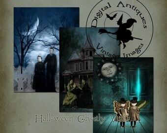 Halloween Ghostly Vistas Collage Sheet Printable Digital Download