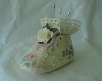 Hand painted Baby Shoe Pincushion Pink Rose Vintage Custom Painted