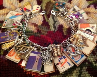 Children's Picture Dictionary Altered Art Charrm Bracelet