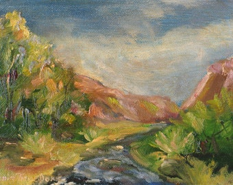valley stream small original landscape oil painting canvas impressionism 6 x 8