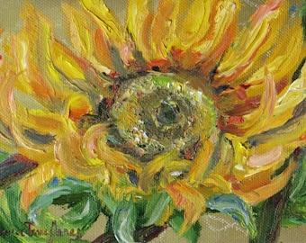 original oil painting, sunflower impasto art,  flower garden autumn art, wall decor, 5 x 7 canvas art,  Janice Trane Jones