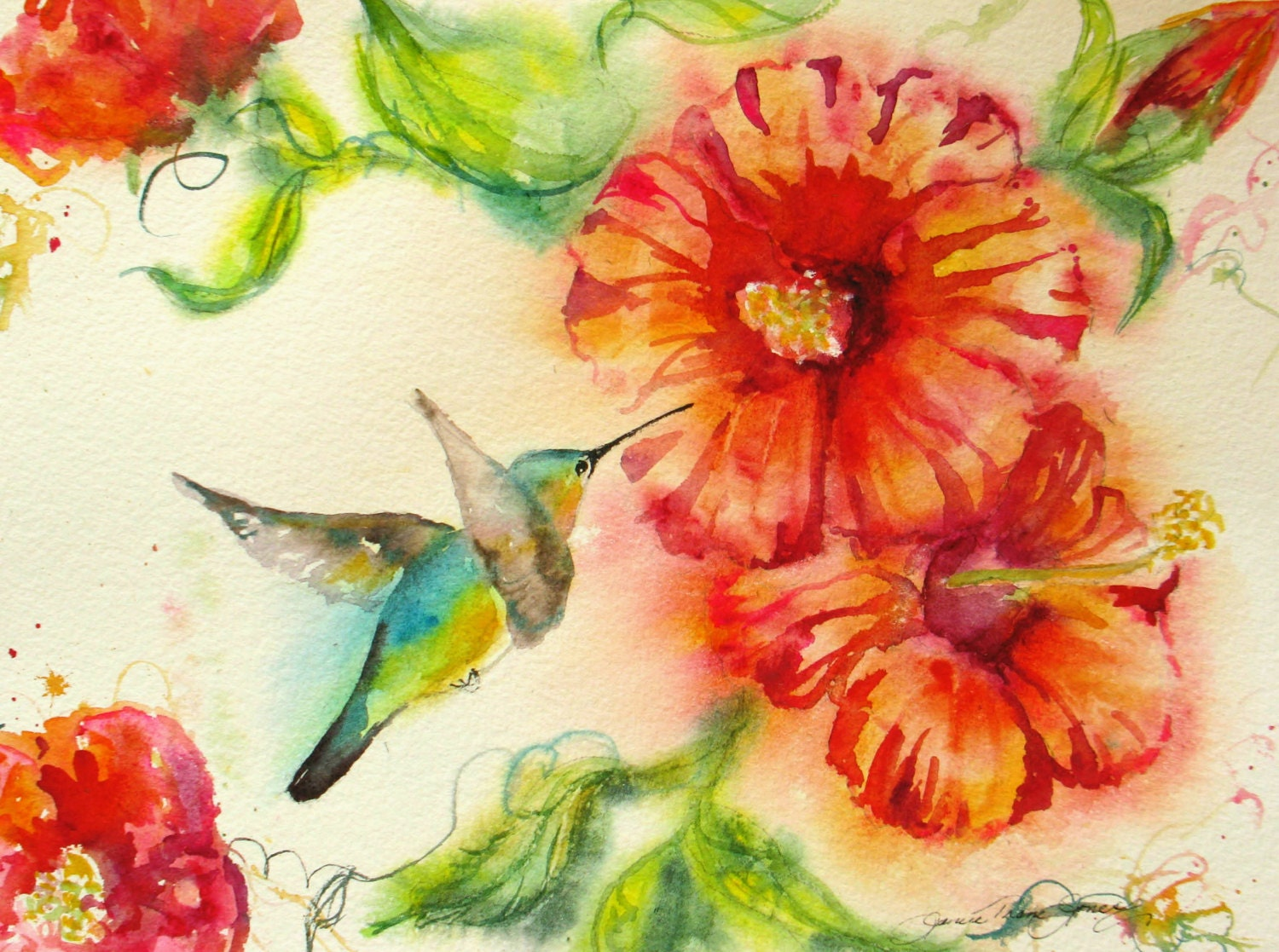 hummingbird hibiscus original watercolor painting abstract