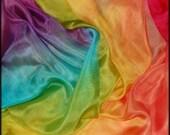 RAINBOW dyed SCARF .Vibrant coloured  Cotton muslin  Gift wrap fabric play silks dress up