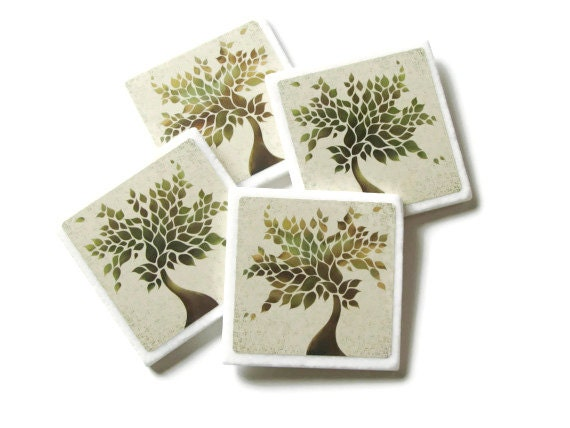 Decorative Tile Coasters, Green Tree Home Decor Accessory, Nature Table Decoration, Natural Earthy Colors