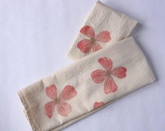 Flour Sack Towel, Hand Printed, Dogwood Blossoms, Natural Cotton