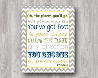 Oh The Places You'll Go - Dr. Seuss Printable Subway Art -  INSTANT DOWNLOAD