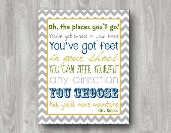 Oh The Places You Ll Go Dr Seuss Printable Subway Art