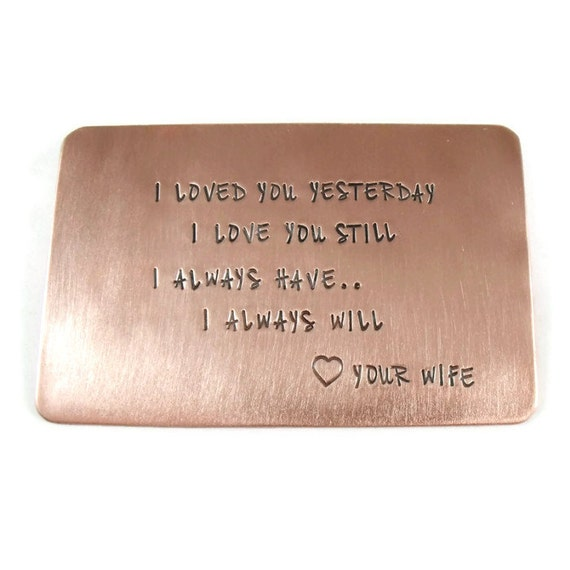Personalized Copper Wallet Insert - Anniversary Wedding Gift - Gifts for men - 7 Year Anniversary Gift