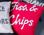 fish & chips - appliqué cushon in red and cream wool