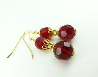 Red Gold Dangle Earrings Red Dangle Earrings Gold Beaded