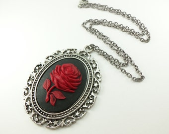 Large Rose Cameo Necklace Black Red Rose Cameo Necklace Gothic Statement Necklace Antiqued Victorian Dark Silver Blooming Open Rose