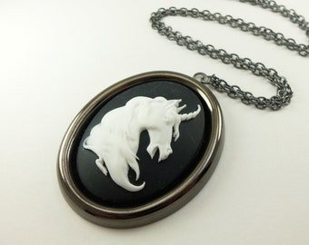 Large Cameo Statement Necklace Whimsical Unicorn Fantasy Pendant Dark Silver Gunmetal Horse Black White