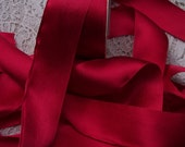 Pure Silk Satin  Ribbon  Ruby  Color 1 1/2 inch wide 3 yds