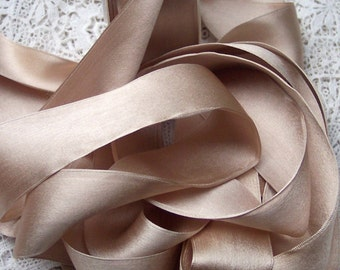 Pure Silk Satin  Ribbon Champagne  Color 1 1/2 inch wide 3 yds