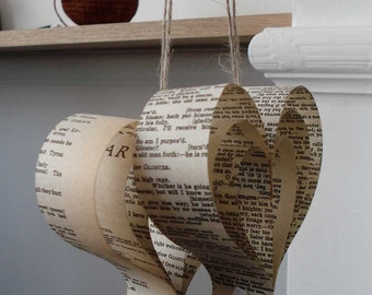 Shakespeare Wedding Decorations: 10 Paper Hearts, Upcycled Book, Romantic, Neutral, Cream,