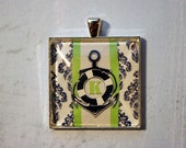 Nautical Buoy Initial in Green and Navy Bezel Set Handmade Art Glass Necklace Keyring Purse Clip