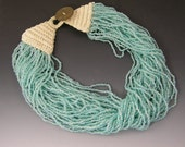 Blue Glass Torsade Necklace with Crocheted Clasp and Button