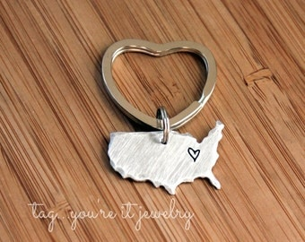 Long Distance Keyring - Couples Keychain- Home is where the heart is - high school graduation - united states keyring - tagyoureitjewelry