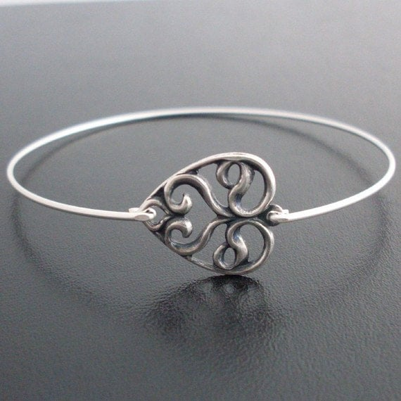 Swirly Heart Bangle Bracelet  - Silver, Swirly Heart Bracelet, Swirly Heart Jewelry, Laced Heart Bracelet, Swirl Bracelet, Swirl Jewelry
