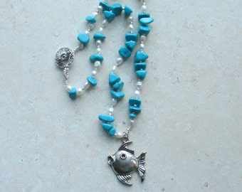 CLEARANCE PRICED - Handmade - Turquoise and Fresh Water Pearl Necklace with Fish Focal