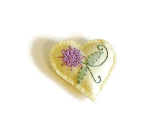 Heart ornament, felt heart, embroidered heart, yellow, lavender, doily flower