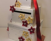 Ivory ,Red and Gold Wedding Card Box Gift Card Box Money Box Holder-Customize your color