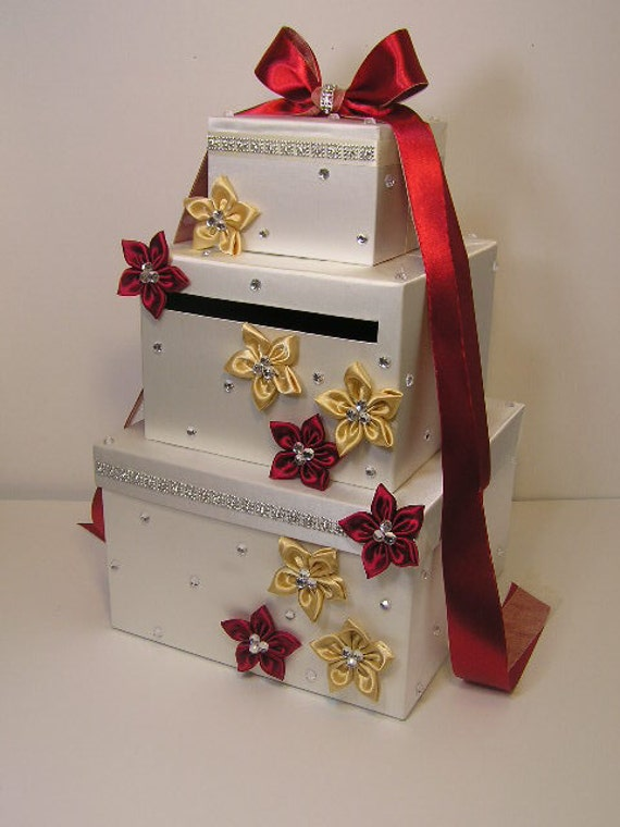 Ivory ,Red and Gold Wedding Card Box Gift Card Box Money Box Holder ...