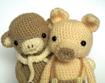 Pig Whitman & Clark Jungleman - Pig and Monkey Amigurumi Crochet Patterns
