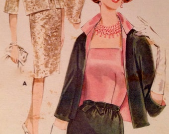 60s Misses Fitted Sheath & Jacket Vintage Sewing Pattern,  Butterick 2465 Size 12, Bust 32