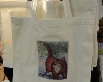 Cat Walking in Snow on 10x10 off-white cotton tote bag