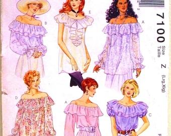 mccalls fashion basics pattern 7100 - misses blouses - (1994) - UNCUT