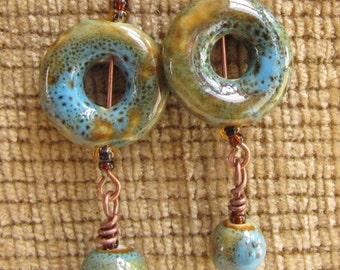Green Ceramic Dangle Earrings, Fall Earrings, Aqua, Antique Copper Wire