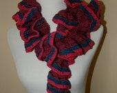 Fiesta Purple, Pink and Dark Turquoise Wool Blend Scarf