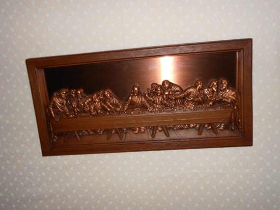 last supper copper and plastic framed wall plaque coppercraft. Black Bedroom Furniture Sets. Home Design Ideas